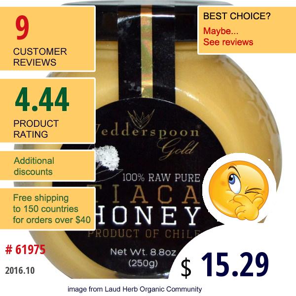 Wedderspoon Organic, Inc., 100% Raw Pure Tiaca Honey, 8.8 Oz (250 G)