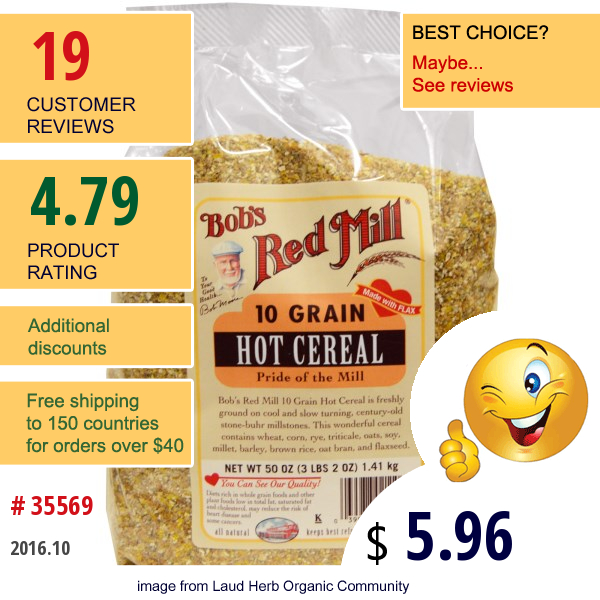 Bobs Red Mill, 10 Grain Hot Cereal, 50 Oz (1.41 Kg)