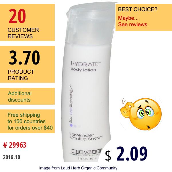 Giovanni, Hydrate Body Lotion, Lavender Vanilla Snow, 2 Fl Oz (60 Ml)