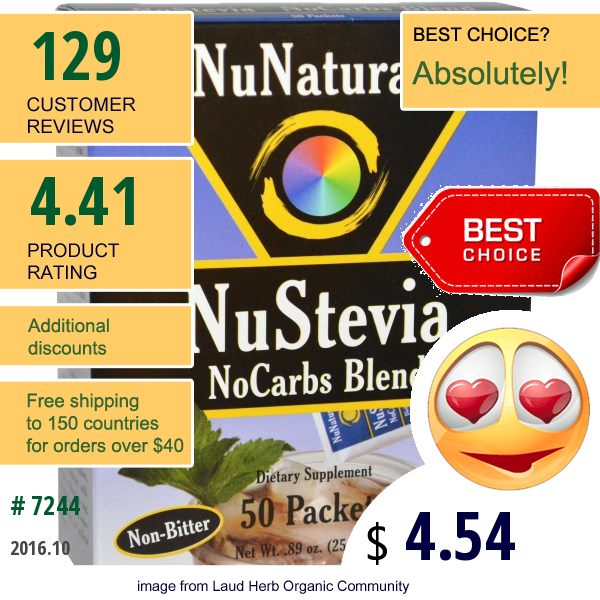 Nunaturals, Nustevia, No Carbs Blend, 50 Packets, 1 Oz (29 G)