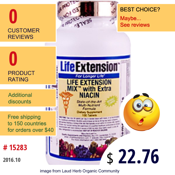 Life Extension, Mix With Extra Niacin Without Copper, 100 Tablets