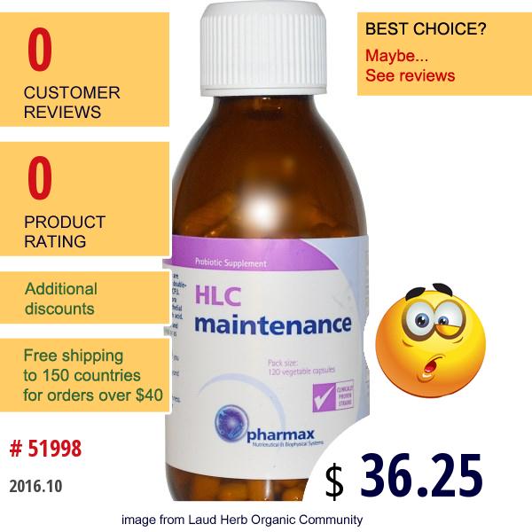 Pharmax, Hlc Maintenance, 120 Veggie Caps (Ice)