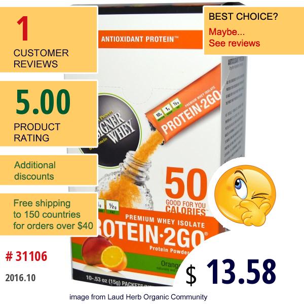 Designer Whey, Protein 2 Go, Protein Powder Paks, Orange Mango, 10 Packets, .53 Oz (15 G) Each
