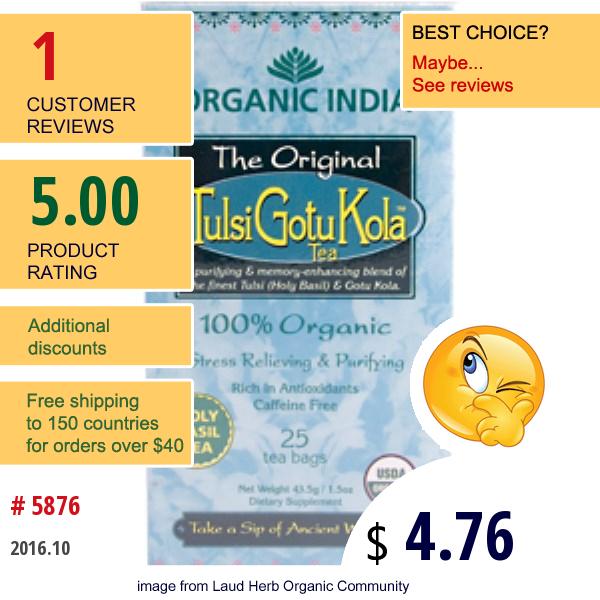 Organic India, The Original Tulsi Gotu Kola Tea, 25 Tea Bags