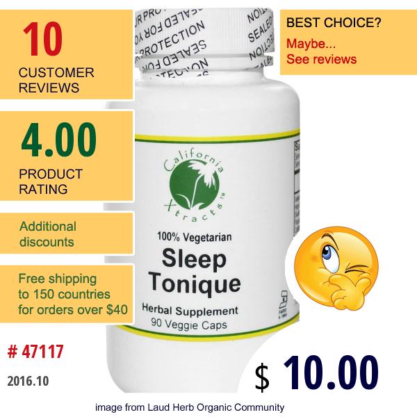 California Xtracts, Sleep Tonique, Sleep Formula, 90 Veggie Caps