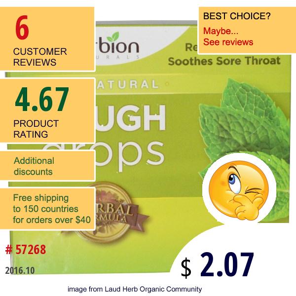 Herbion, Cough Drops, Mint, 18 Drops