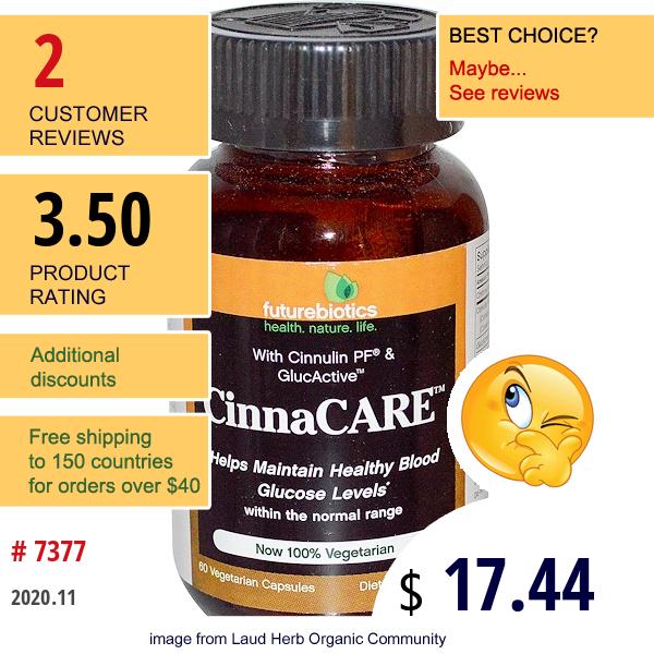 Futurebiotics, Cinnacare, 60 Veggie Caps
