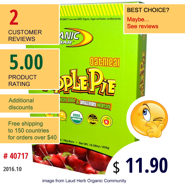 Organic Food Bar, Oatmeal Apple Pie, 12 Bars, 1.34 Oz (38 G) Each