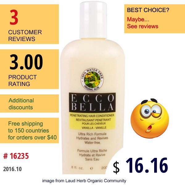Ecco Bella, Penetrating Hair Conditioner, Vanilla, 8 Fl Oz (200 Ml)