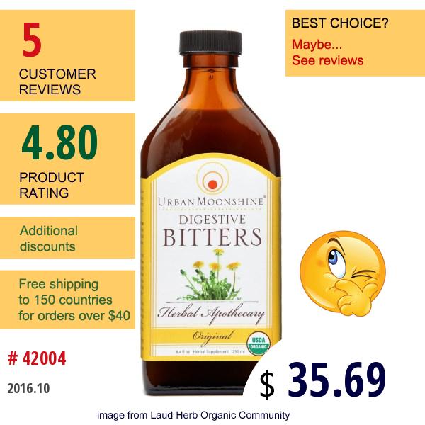 Urban Moonshine, Organic, Digestive Bitters, Original, 8.4 Fl Oz (250 Ml)