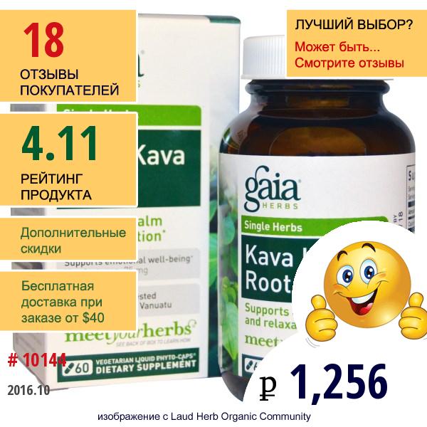 Gaia Herbs, Корень Кава-Кавы, 60 Растительных Жидких Фитокапсул