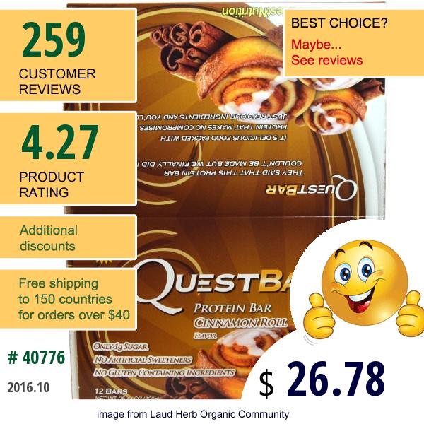 Quest Nutrition, Protein Bar, Cinnamon Roll Flavor, 12 Bars, 2.12 Oz (60 G) Each