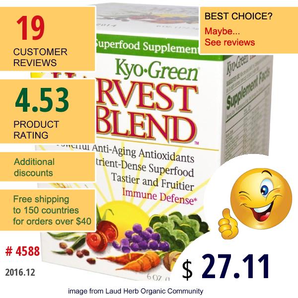 Wakunaga - Kyolic, Kyo Green, Harvest Blend, Powdered Drink Mix, 6 Oz (172.5 G)