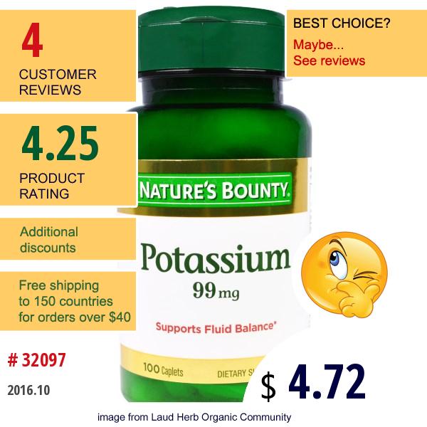 Natures Bounty, Potassium, 99 Mg, 100 Caplets