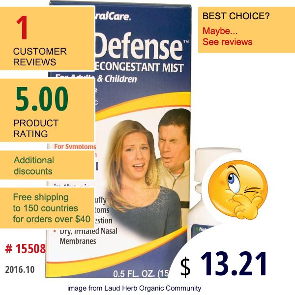 Natural Care, Airdefense, Nasal Decongestant Mist, 0.5 Fl Oz (15 Ml)