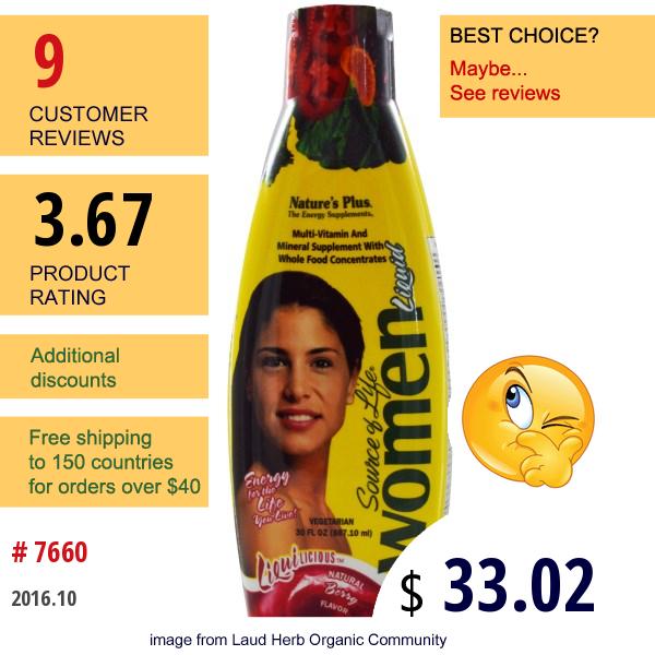Natures Plus, Source Of Life, Women Liquid, Natural Berry Flavor, 30 Fl Oz (887.10 Ml)