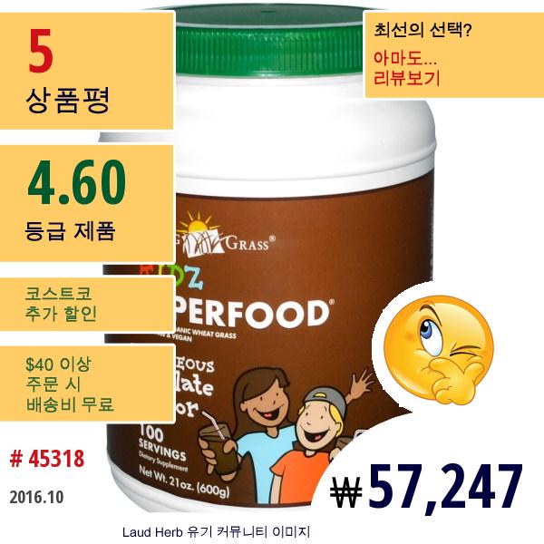 Amazing Grass, 키즈 슈퍼푸드, 충격적인 초콜릿 맛, 21 온스 (600 그램)