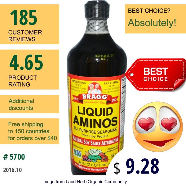 Bragg, Liquid Aminos, All Purpose Seasoning, Natural Soy Sauce Alternative, 32 Fl Oz (946 Ml)