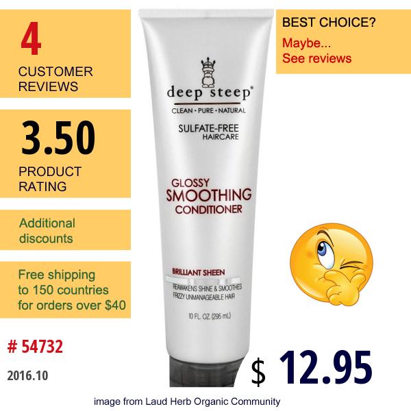 Deep Steep, Glossy Smoothing Shampoo, Brilliant Sheen, 10 Fl Oz (295 Ml)