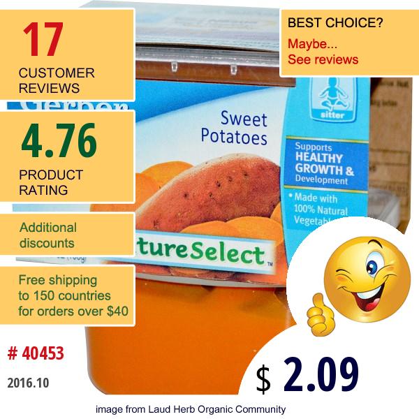 Gerber, Nature Select, 2Nd Foods, Sweet Potatoes, 2 Packs, 3.5 Oz (99 G) Each