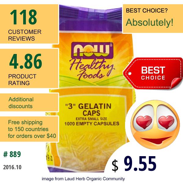 Now Foods, 3 Gelatin Caps, Extra Small Size, 1000 Empty Capsules
