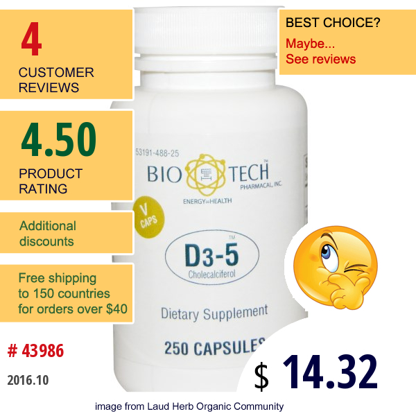 Bio Tech Pharmacal, Inc, D3-5 Cholecalciferol, 250 Veggie Caps