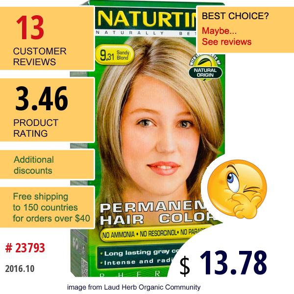 Naturtint, Permanent Hair Colorant, 9.31 Sandy Blonde, 5.28 Fl Oz (150 Ml)