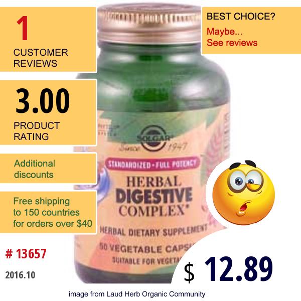 Solgar, Herbal Digestive Complex, 50 Veggie Caps