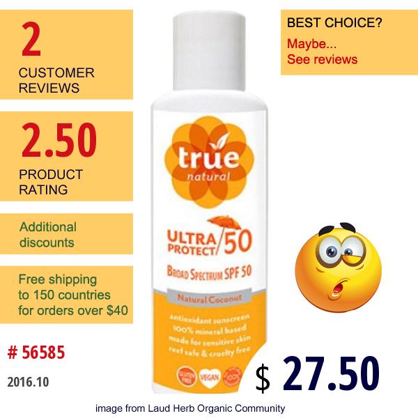 True Natural, Ultra Protect 50, Natural Coconut, 4 Fl Oz (118 Ml)