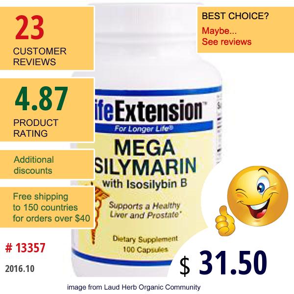 Life Extension, Optimized Milk Thistle, 100 Capsules