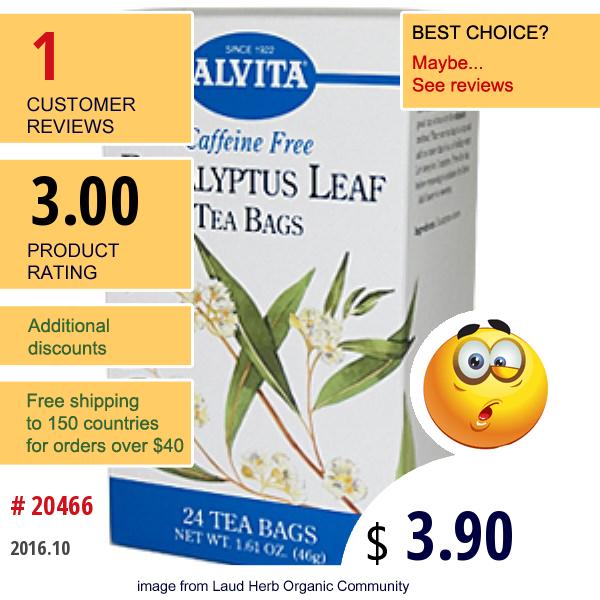 Alvita Teas, Eucalyptus Leaf Tea Bags, Caffeine Free, 24 Tea Bags