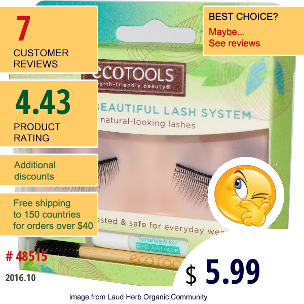 Ecotools, Naturally Beautiful Lash System, Everyday Length, 1 Pair Of Lashes
