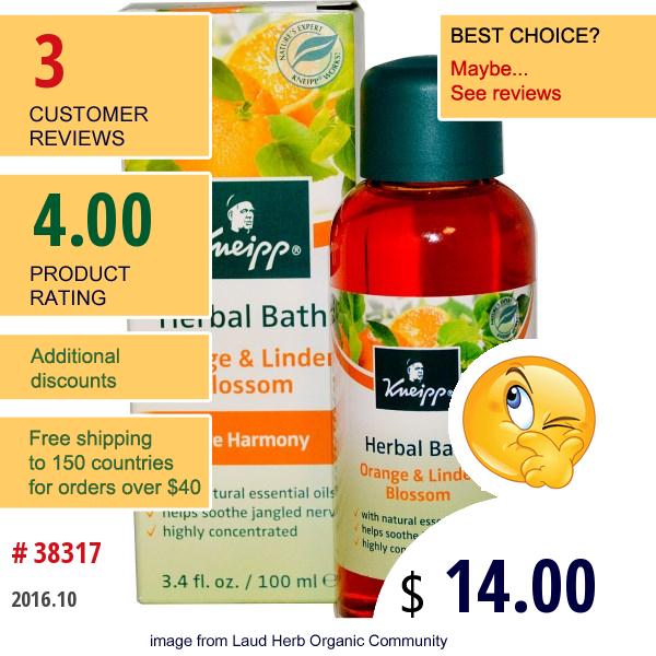 Kneipp, Herbal Bath, Pure Harmony, Orange & Linden Blossom, 3.4 Fl Oz (100 Ml)