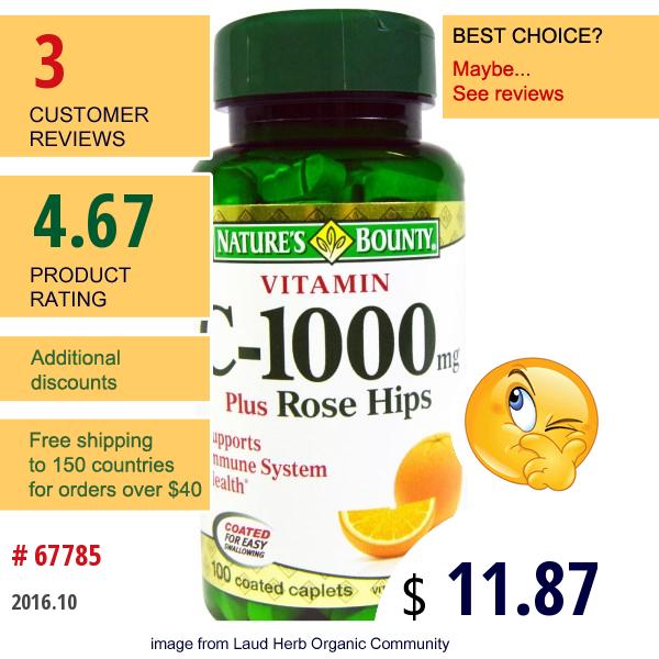 Natures Bounty, Vitamin C-1000 Plus Rose Hips, 100 Coated Caplets