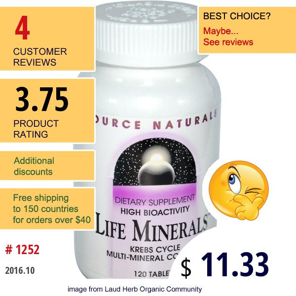Source Naturals, Life Minerals, 120 Tablets