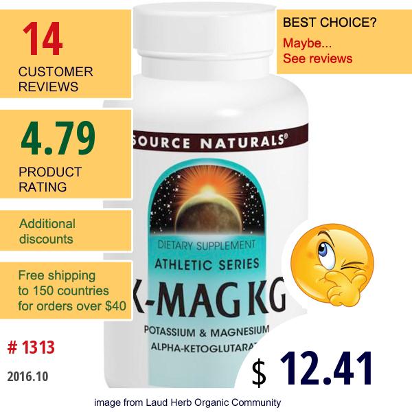Source Naturals, K-Mag Kg, 1185 Mg, 60 Tablets