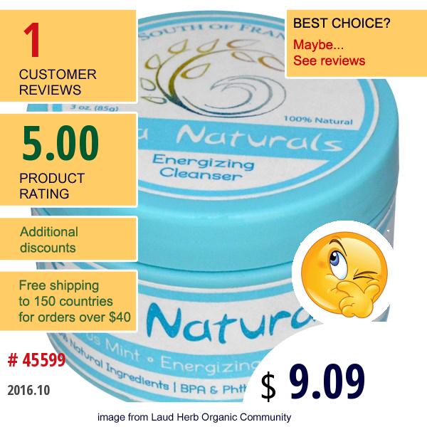 Spa Naturals, Energizing Cleanser, Citrus Mint, 3 Oz (85 G)