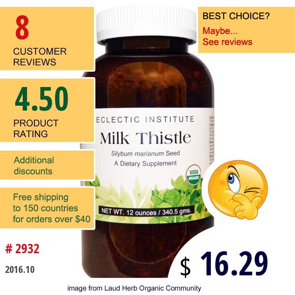 Eclectic Institute, Milk Thistle , 12 Oz (340.5 G)