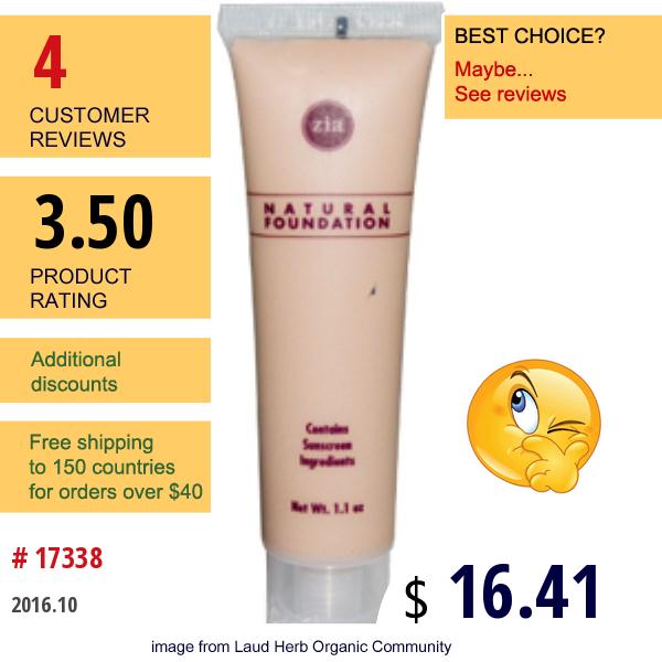 Zia Natural Skincare, Natural Foundation, Rose Quartz,  Spf 8, 1.1 Oz