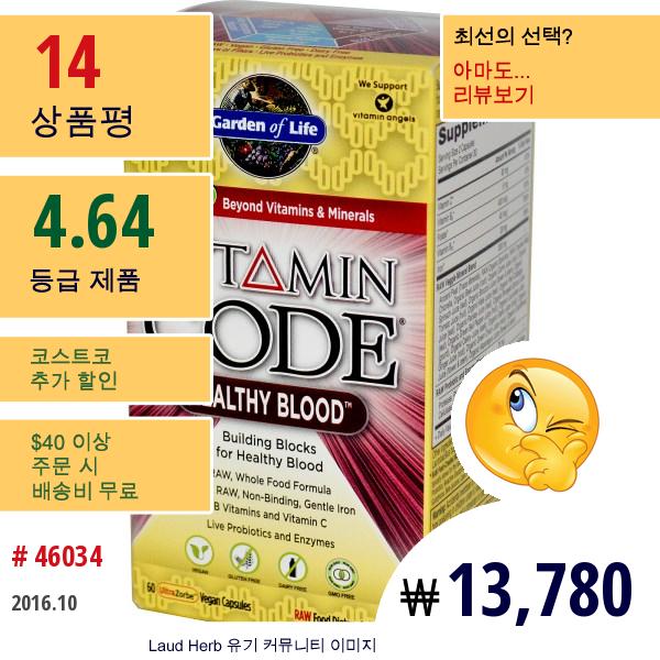 Garden Of Life, 비타민 코드, 건강한 혈액, 60 채식주의 캡