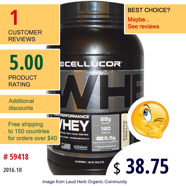 Cellucor, Cor-Performance, Whey Whipped Vanilla, 2 Lb (924 G)
