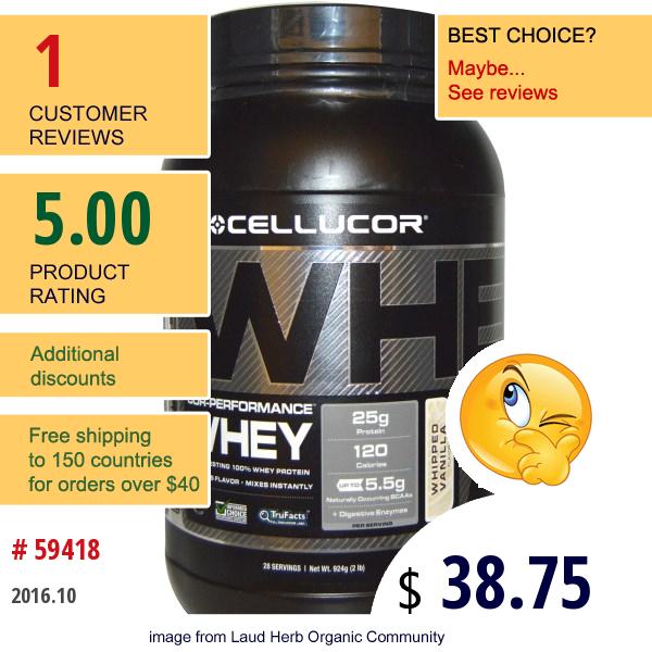 Cellucor, Cor-Performance, Whey Whipped Vanilla, 2 Lb (924 G)