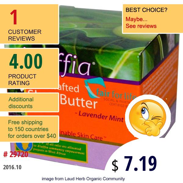 Alaffia, Handcrafted Shea Butter, Lavender Mint, 2 Oz (59 Ml)