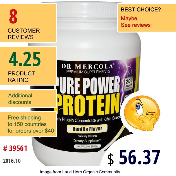 Dr. Mercola, Premium Supplements, Pure Power Protein, Vanilla Flavor, 2 Lbs (909 G)