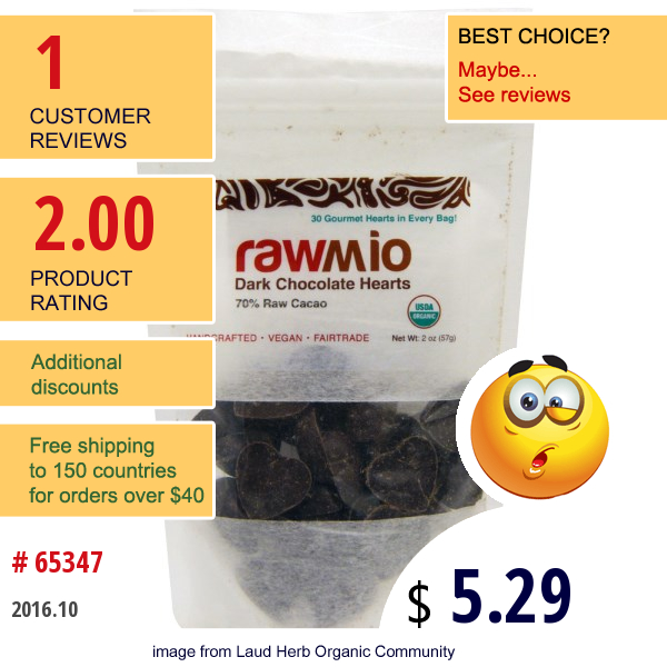 Rawmio, Dark Chocolate Hearts, 2 Oz (57 G)