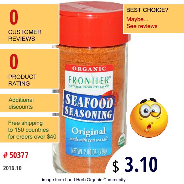 Frontier Natural Products, Organic, Seafood Seasoning, Original, 2.80 Oz (79 G)