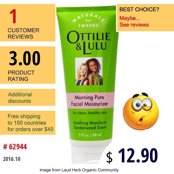 Ottilie Lulu, Morning Pure Facial Moisturizer, Southing Mandarin Sandalwood Scent, 3 Fl Oz (88 Ml)