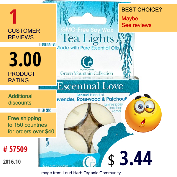 Way Out Wax, Tea Lights, Escentual Love, 4 Candles, 0.6 Oz (16 G) Each