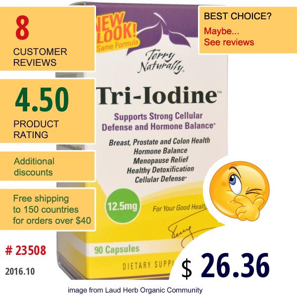 Europharma, Terry Naturally, Tri-Iodine, 12.5 Mg, 90 Capsules