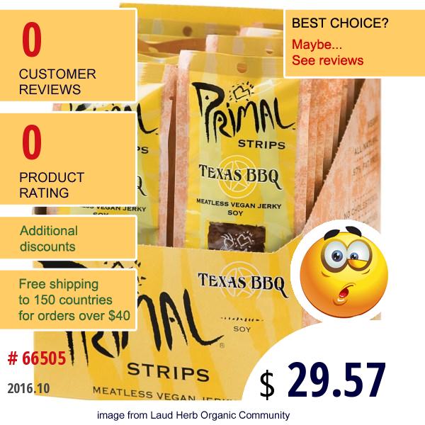 Primal Spirit Foods Inc, Strips, Meatless Vegan Jerky, Soy, Texas Bbq, 24 Count, 1.0 Oz (28 G) Each
